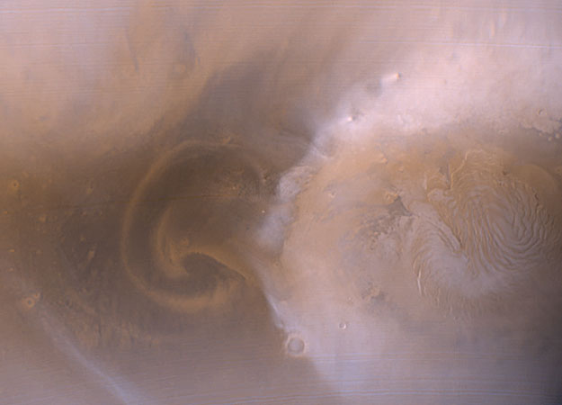A Polar Martian Dust Storm