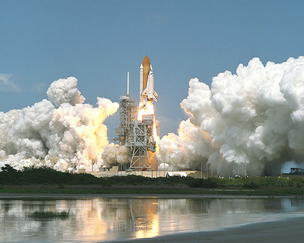 Space Shuttle Lifts Off for Space Station