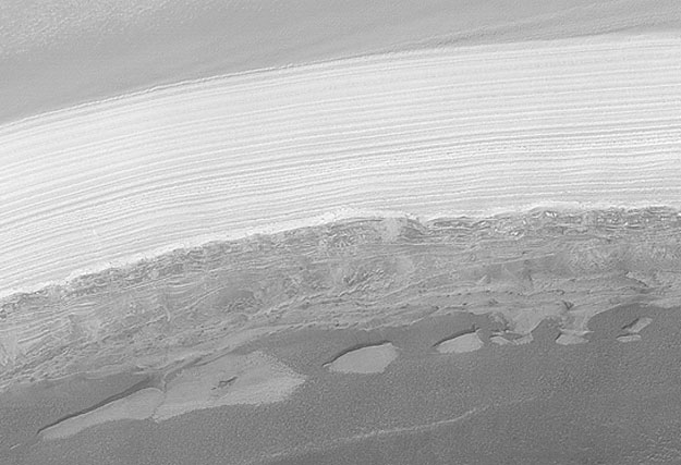 Water Ice Imaged in Martian Polar Cap