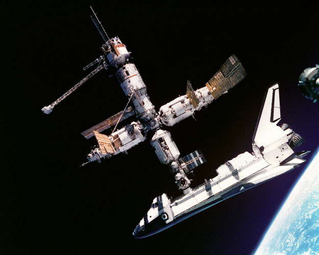 The Space Shuttle Docked with Mir