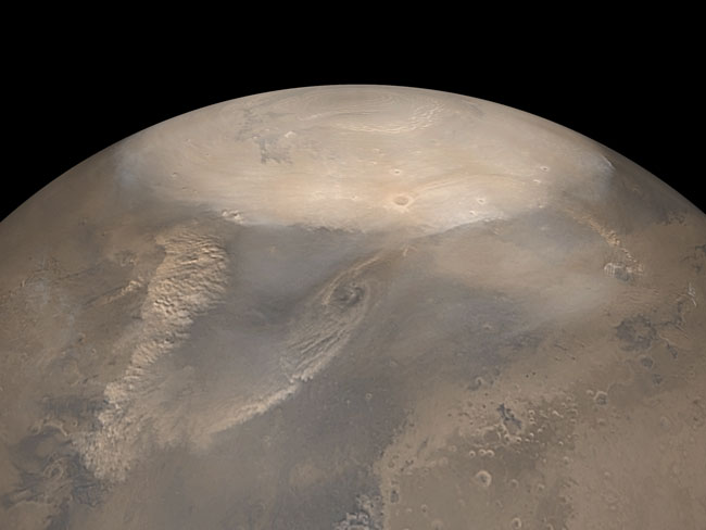 Spring Dust Storms at the North Pole of Mars
