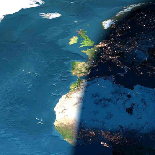 A Digital Sunset Over Europe and Africa