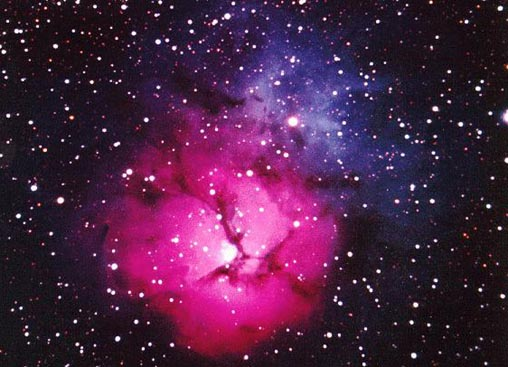 The Trifid Nebula in Red, White and Blue