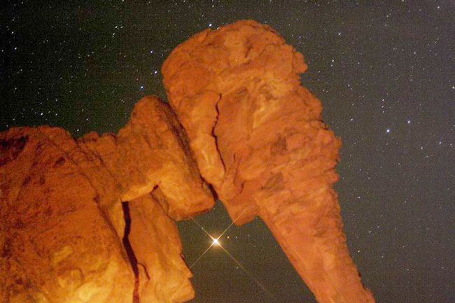 Mars Rising Behind Elephant Rock