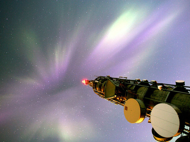 Aurora Over a Communications Tower