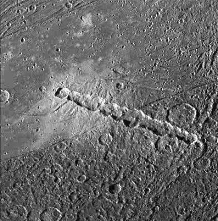 Ganymede: Torn Comet Crater Chain