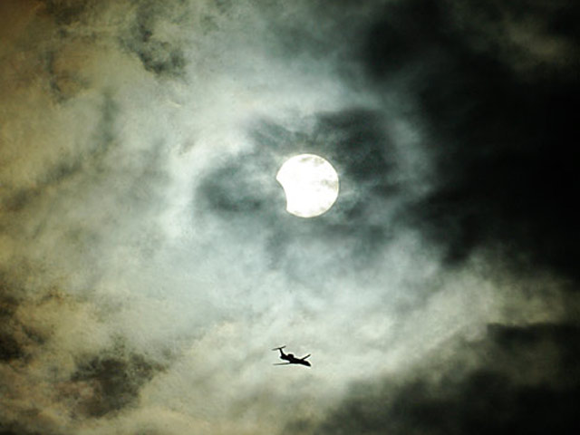 Clouds, Plane, Sun, Eclipse
