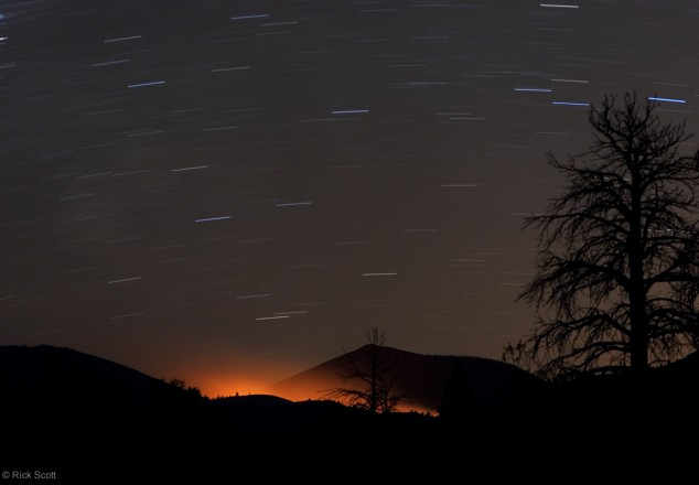 Fire Glow and Star Trails at Sunset Crater