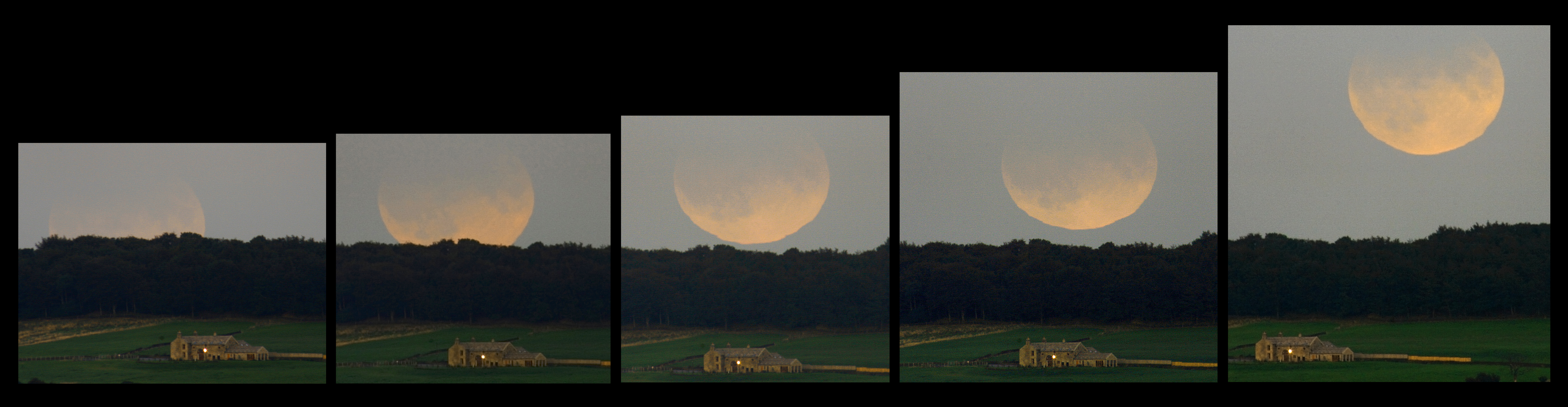 Eclipsed Moon Rising Over England
