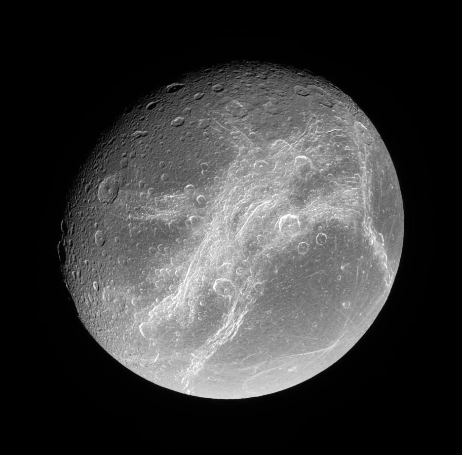 Bright Cliffs Across Saturns Moon Dione