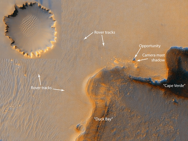 Mars Rover at Victoria Crater Imaged from Orbit