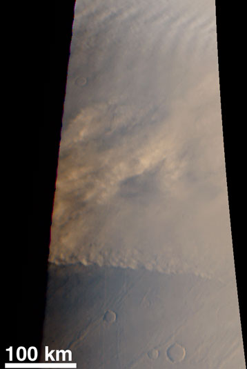 A Martian Dust Storm Approaches