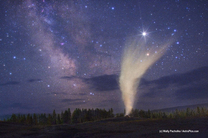 Old Faithful Below a Yellowstone Sky