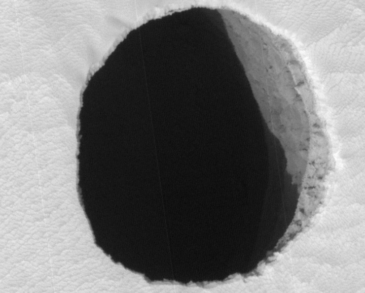 A Hole in Mars Close Up