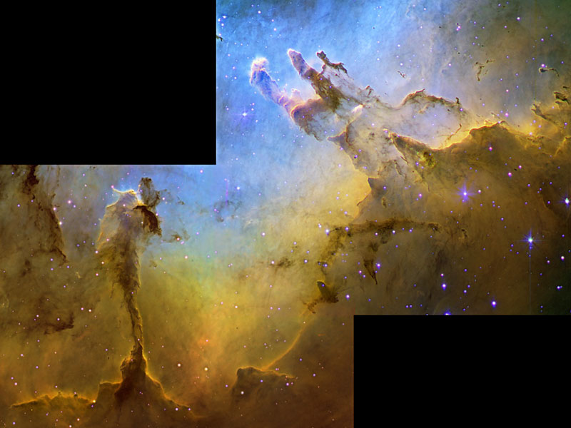 The Eagle Nebula in Hydrogen Oxygen, and Silicon