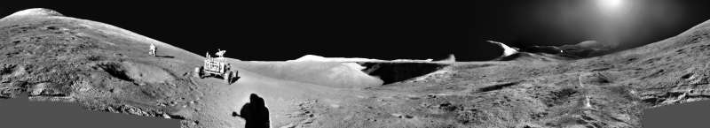 An Apollo 15 Panorama: Astronaut Exploring
