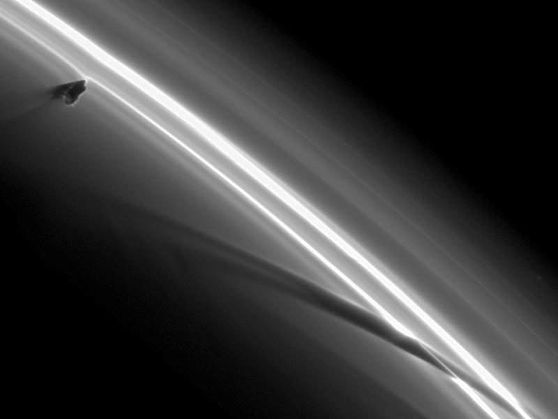 Prometheus Creating Saturn Ring Streamers