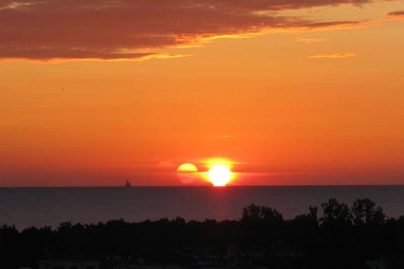 A Triple Sunrise Over Gdansk Bay
