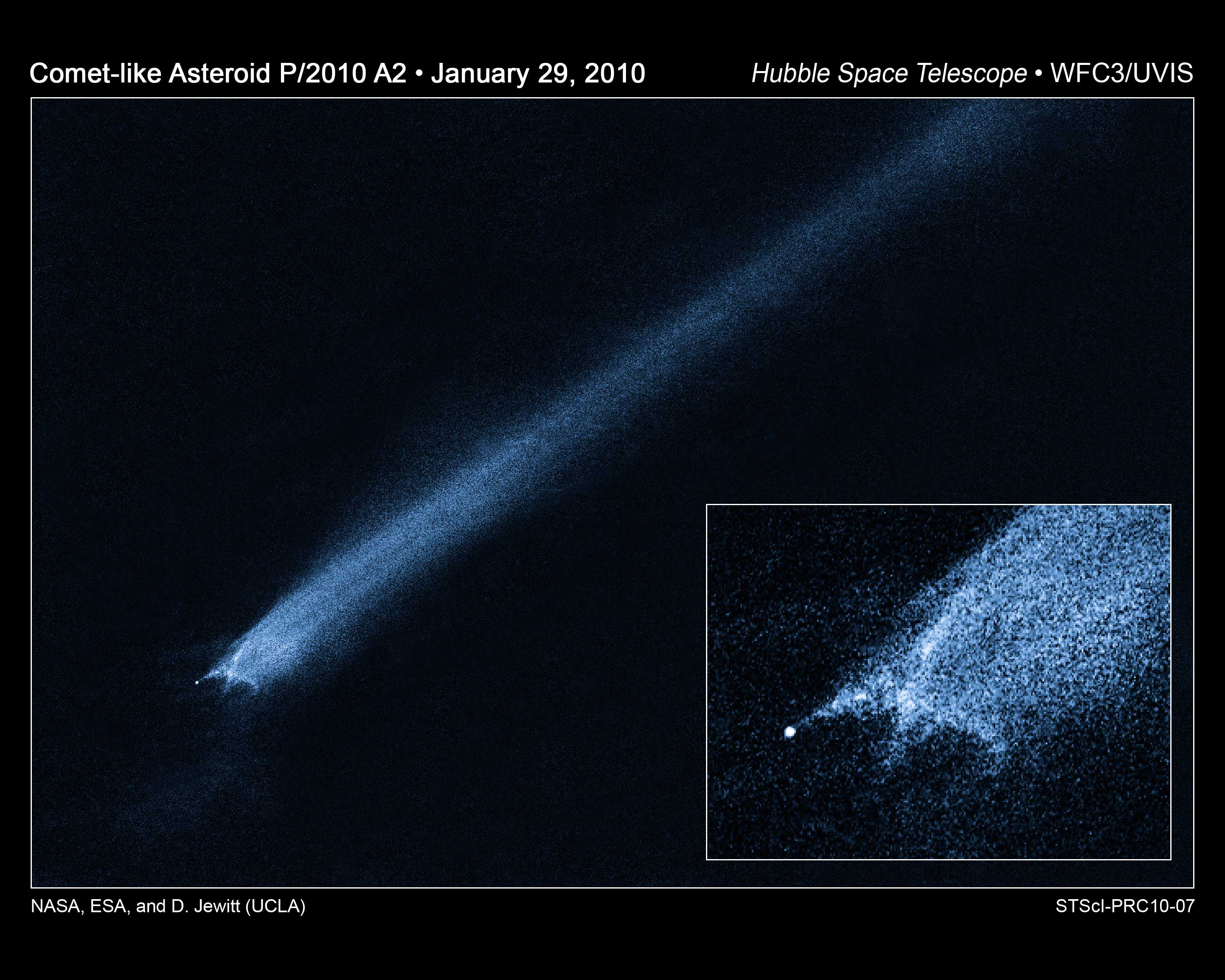 P2010 A2: Unusual Asteroid Tail Implies Powerful Collision