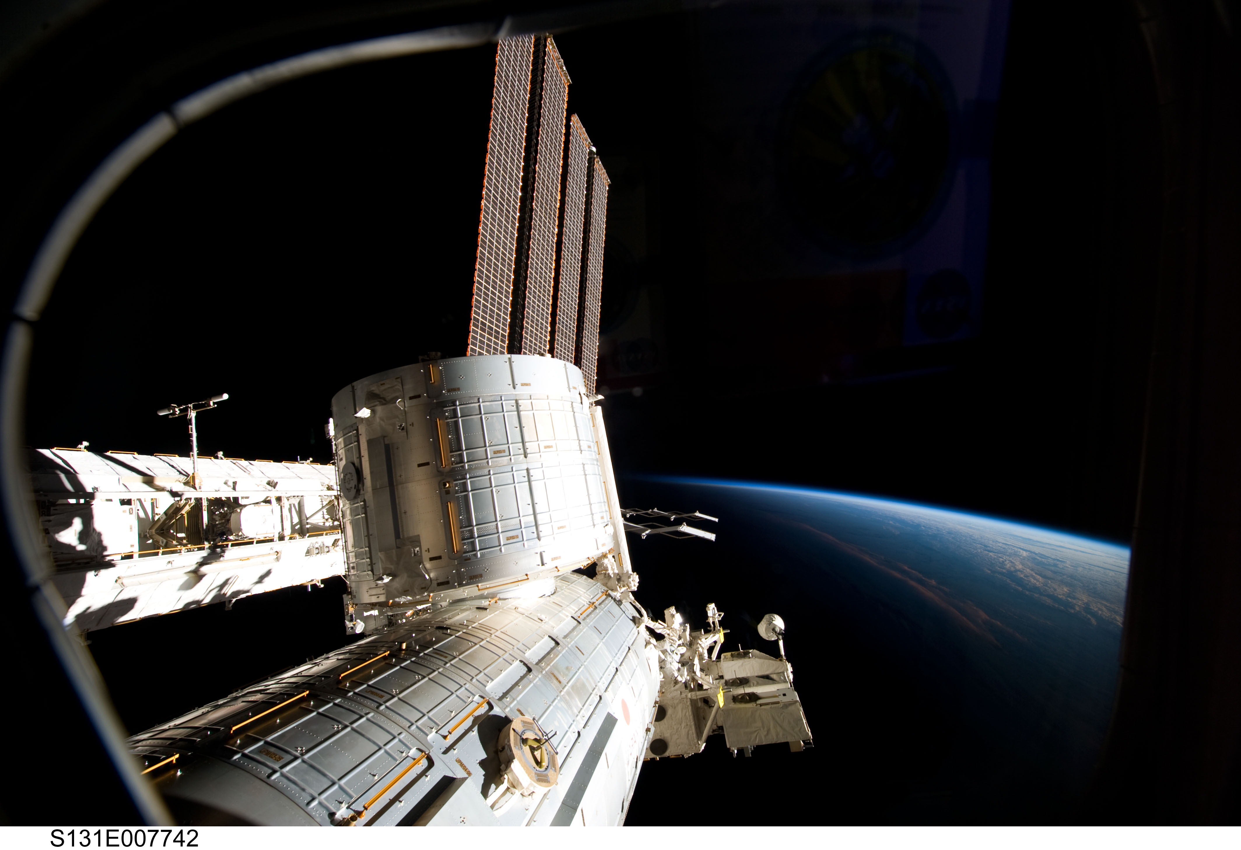 A Large Space Station Over Earth