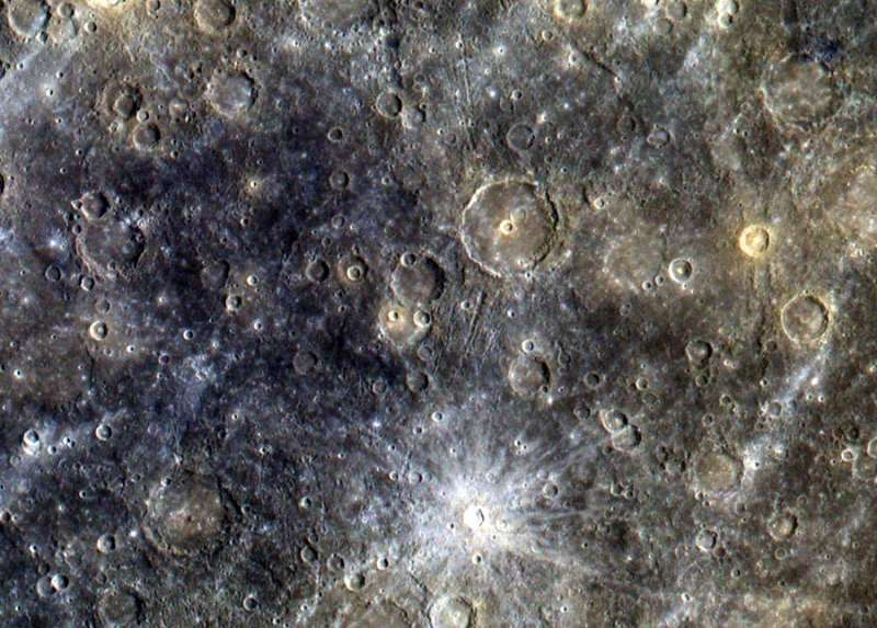 Mercury's Surface in Exaggerated Color