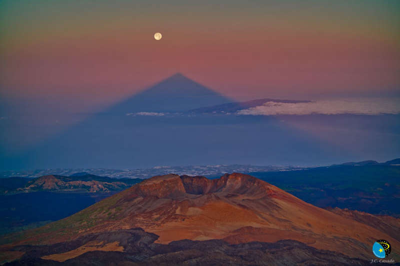 A Triangular Shadow of a Large Volcano