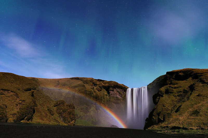 Waterfall, Moonbow, and Aurora from Iceland