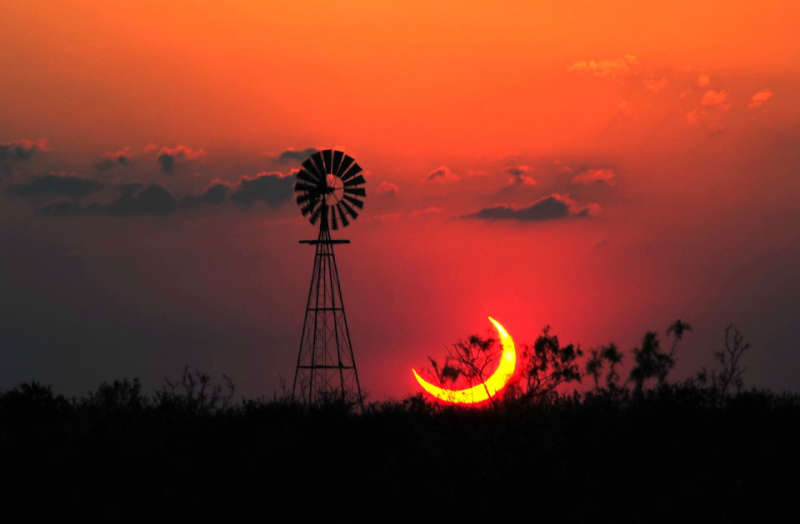 A Partial Solar Eclipse over Texas
