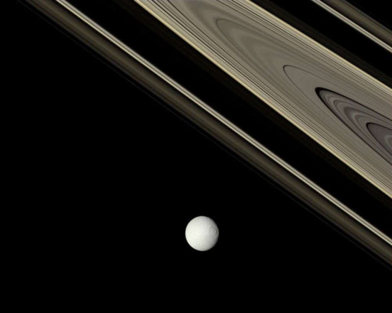 Saturn: Bright Tethys and Ancient Rings