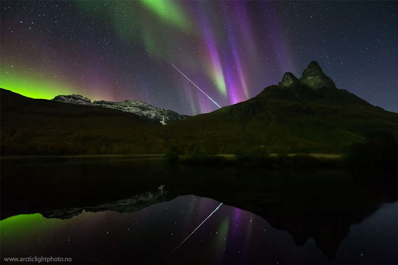 Aurora and Fireball Over Norway