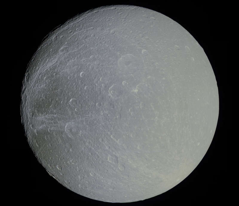Saturns Moon Dione in Slight Color