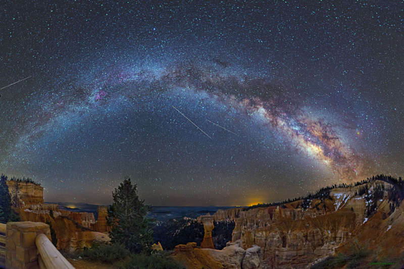 Meteors, Planes, and a Galaxy over Bryce Canyon