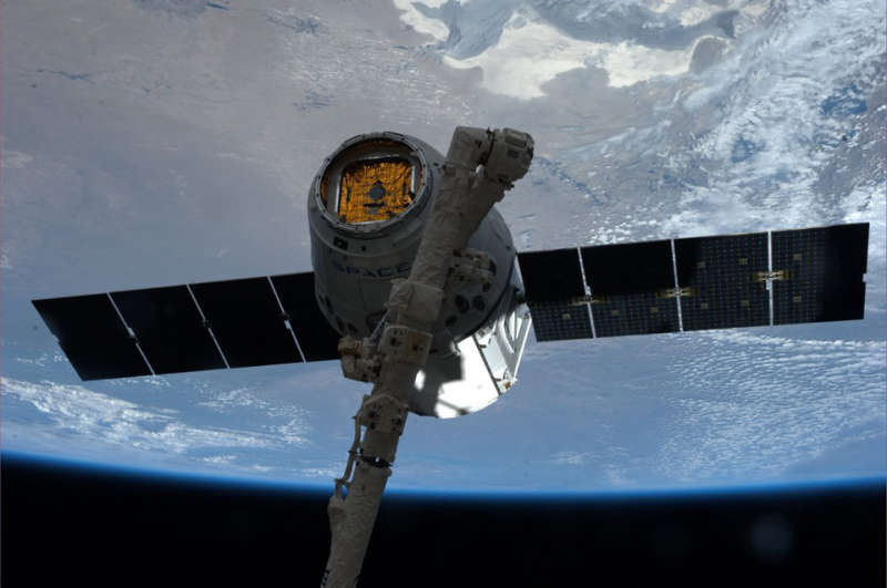 The Space Station Captures a Dragon Capsule