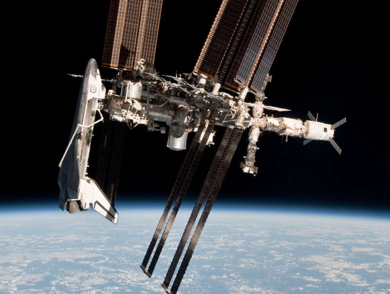Space Shuttle and Space Station Photographed Together