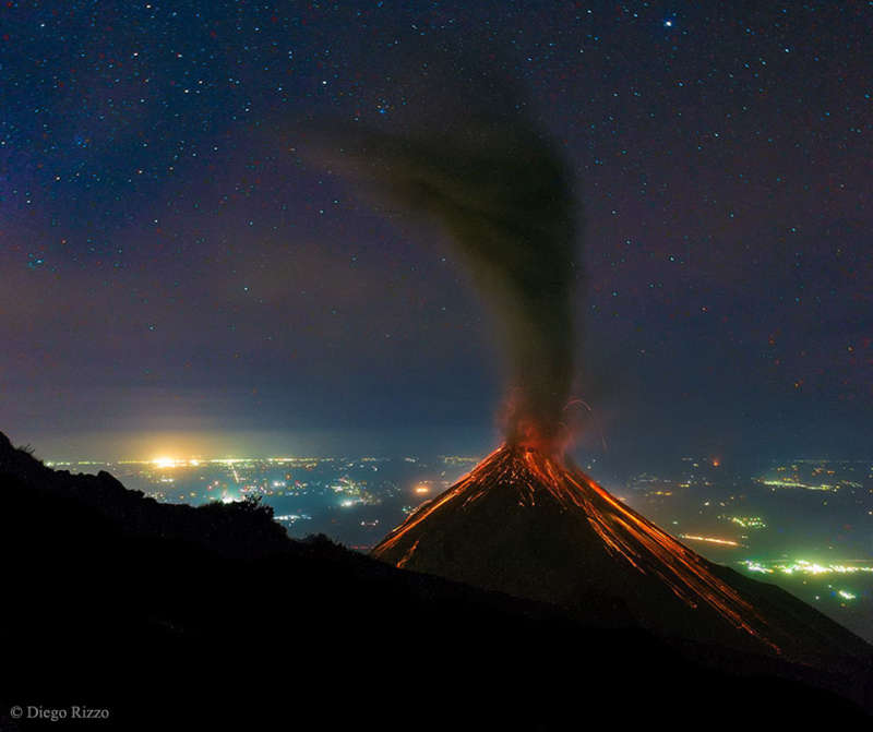 Volcano of Fire Erupts Under the Stars