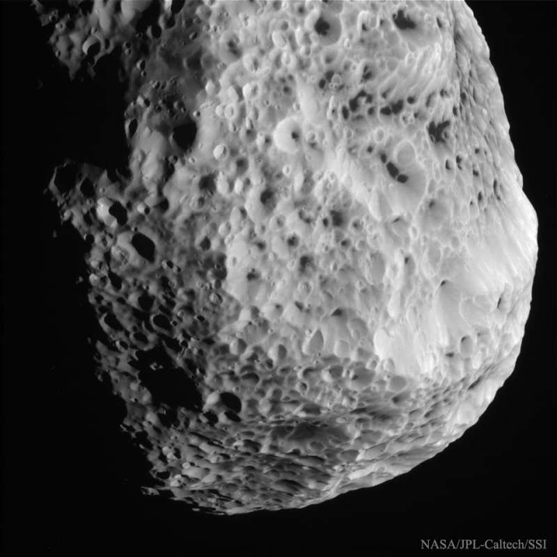 Flyby Image of Saturns Sponge Moon Hyperion