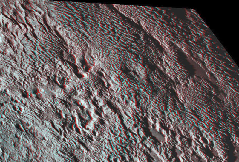 Pluto s Bladed Terrain in 3D