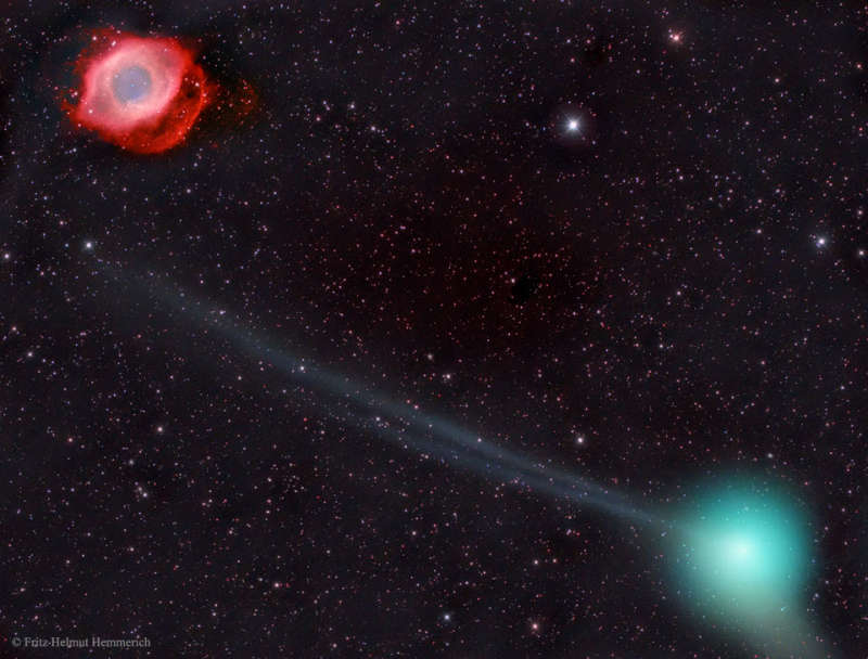 Comet PanSTARRS and the Helix Nebula