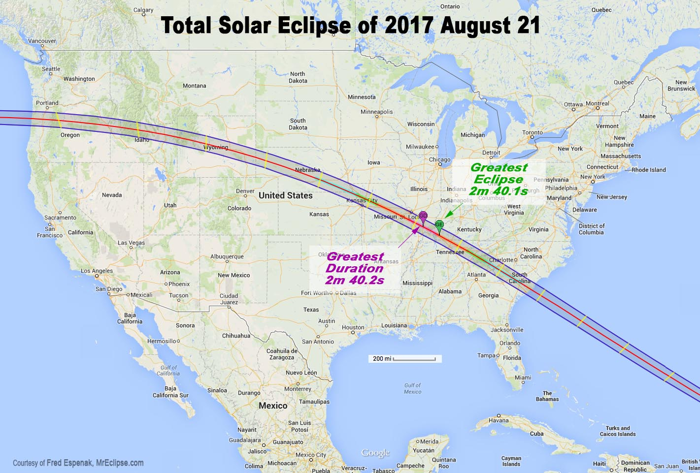 Map of Total Solar Eclipse Path in 2017 August
