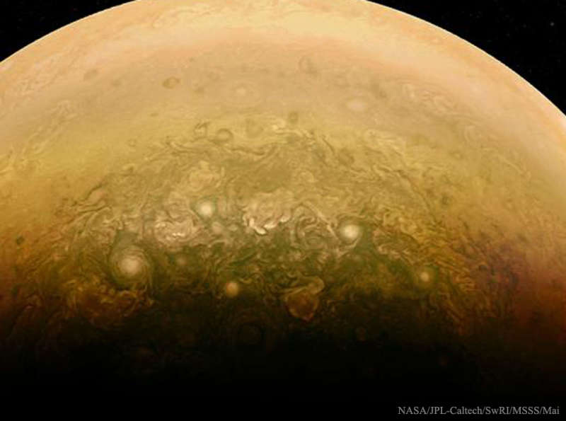 Clouds Near Jupiters South Pole from Juno