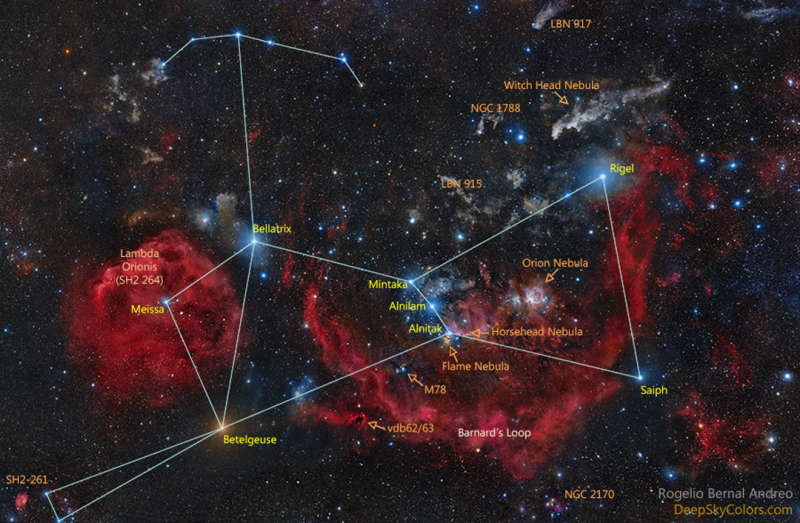 Official Star Names for Orion