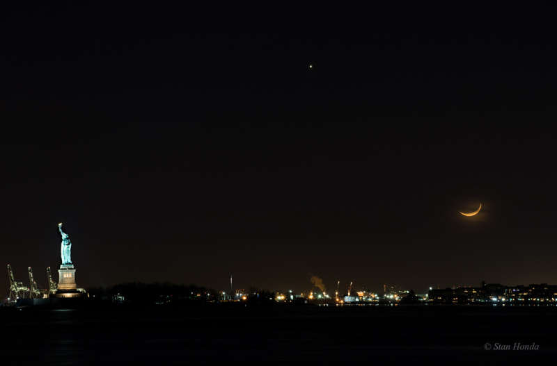 New York Harbor Moonset