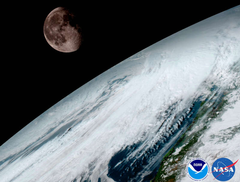 GOES 16: Moon over Planet Earth