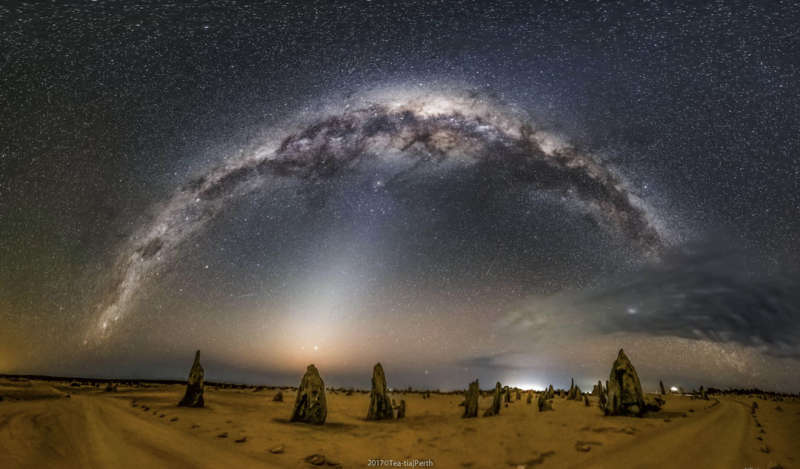 Milky Way and Zodiacal Light over Australian Pinnacles