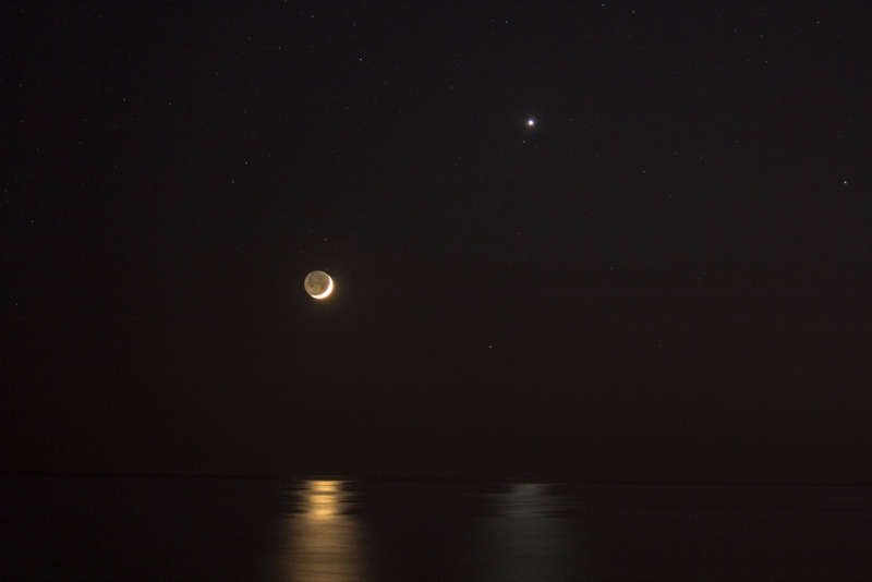 Reflections of Venus and Moon