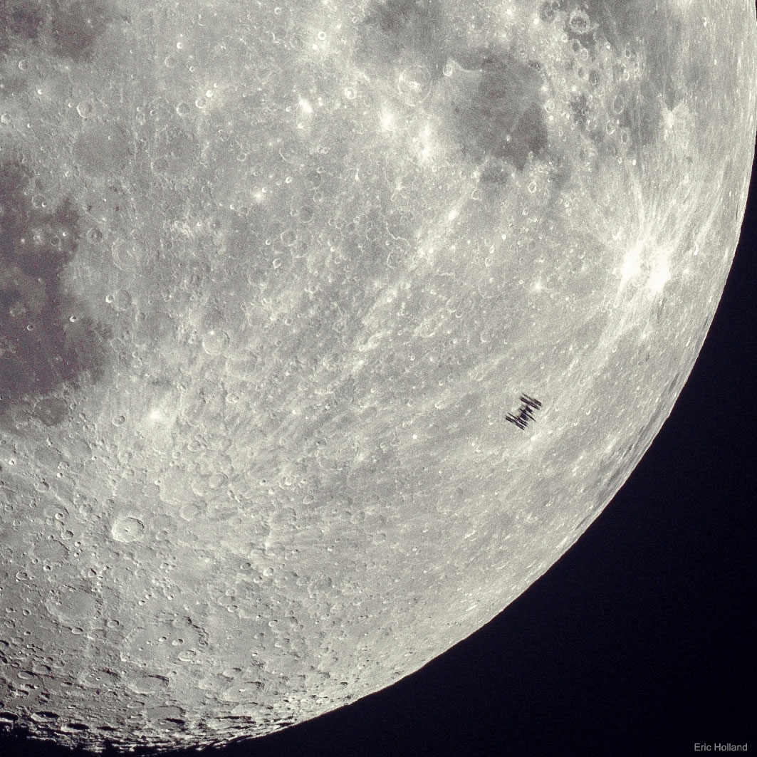 Space Station Silhouette on the Moon