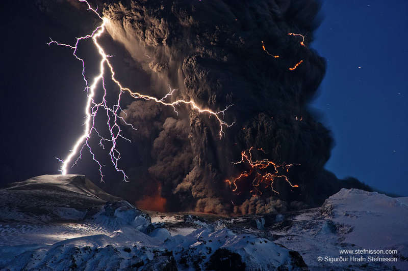 Ash and Lightning above an Icelandic Volcano