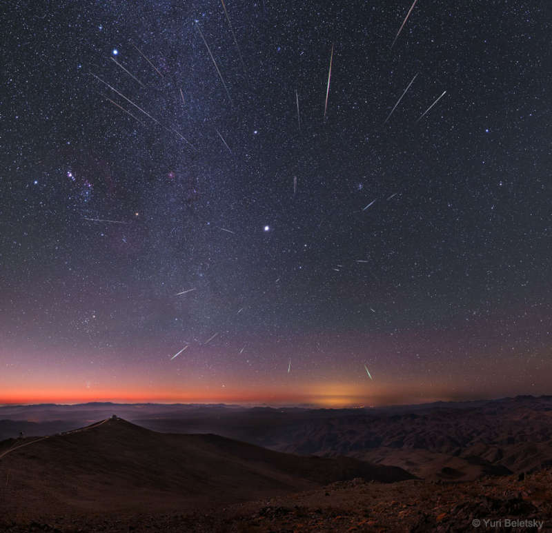 Geminid Meteors over Chile