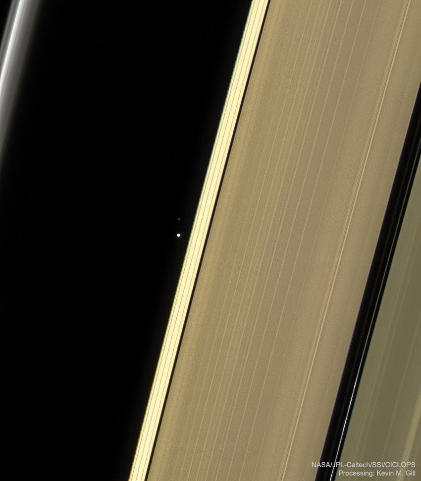 Earth and Moon through Saturns Rings