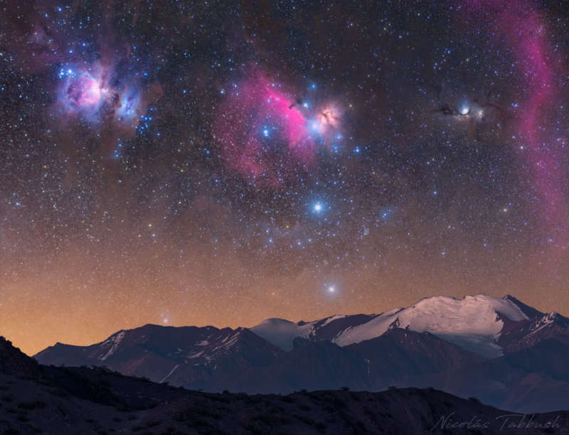 Orion over Argentine Mountains